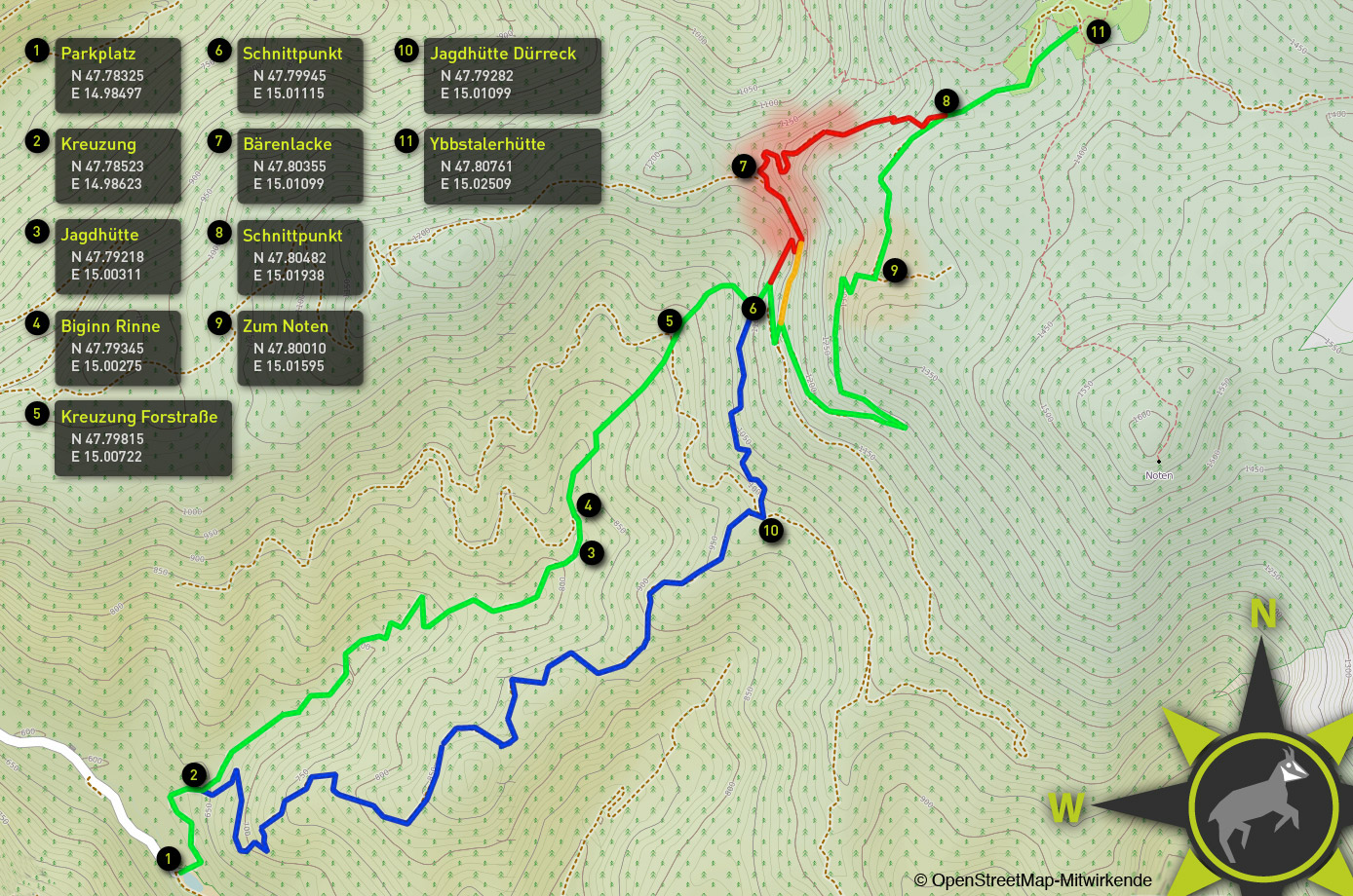 Skitouren Anstiege Ybbstalerhütte -Übersichtskarte