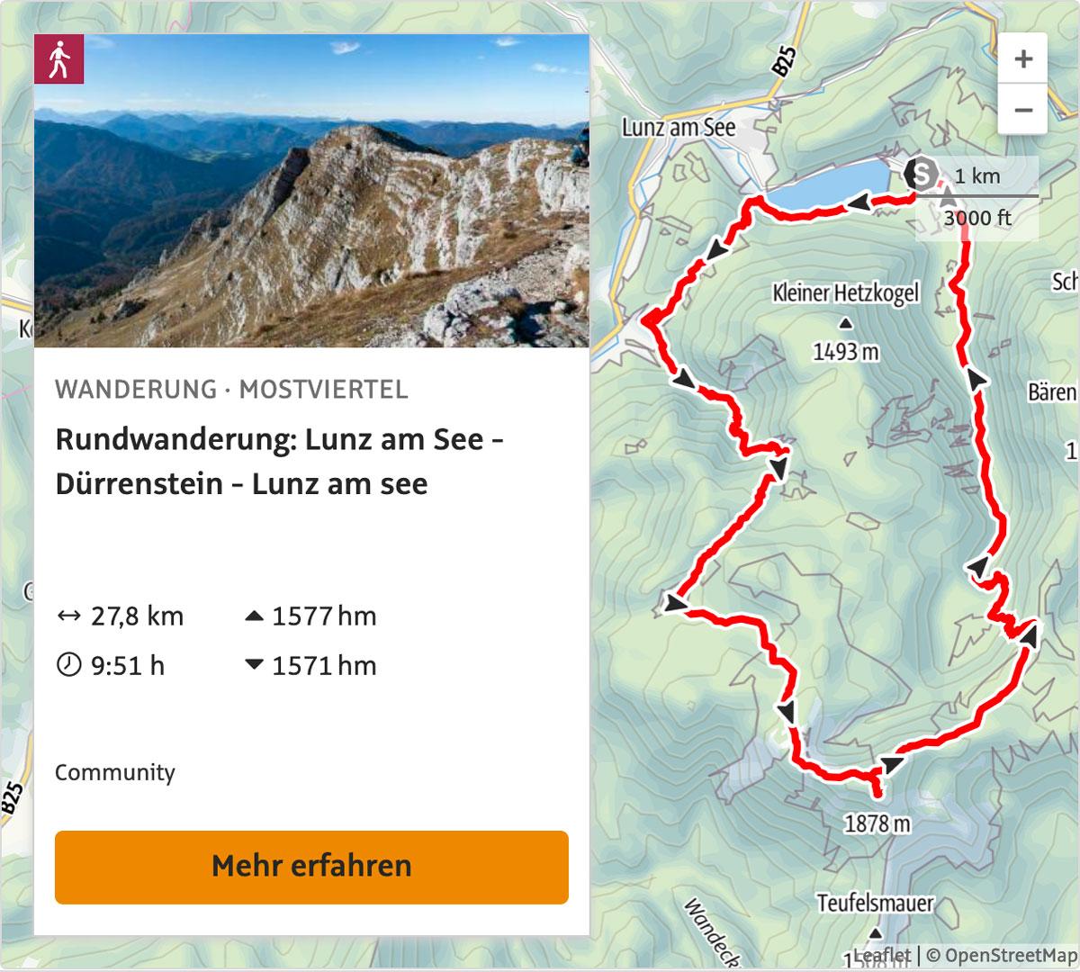 Lunzer See - Seekopf - Lechnergraben - Ybbstalerhütte - Dürrenstein - Herrenalm - Obersee - Mittersee - Lunzer See