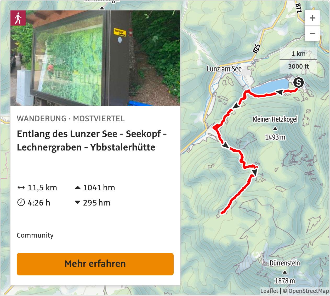 Zustieg Ybbstalerhütte: Lunzer See, Seekopf, Lechnergraben