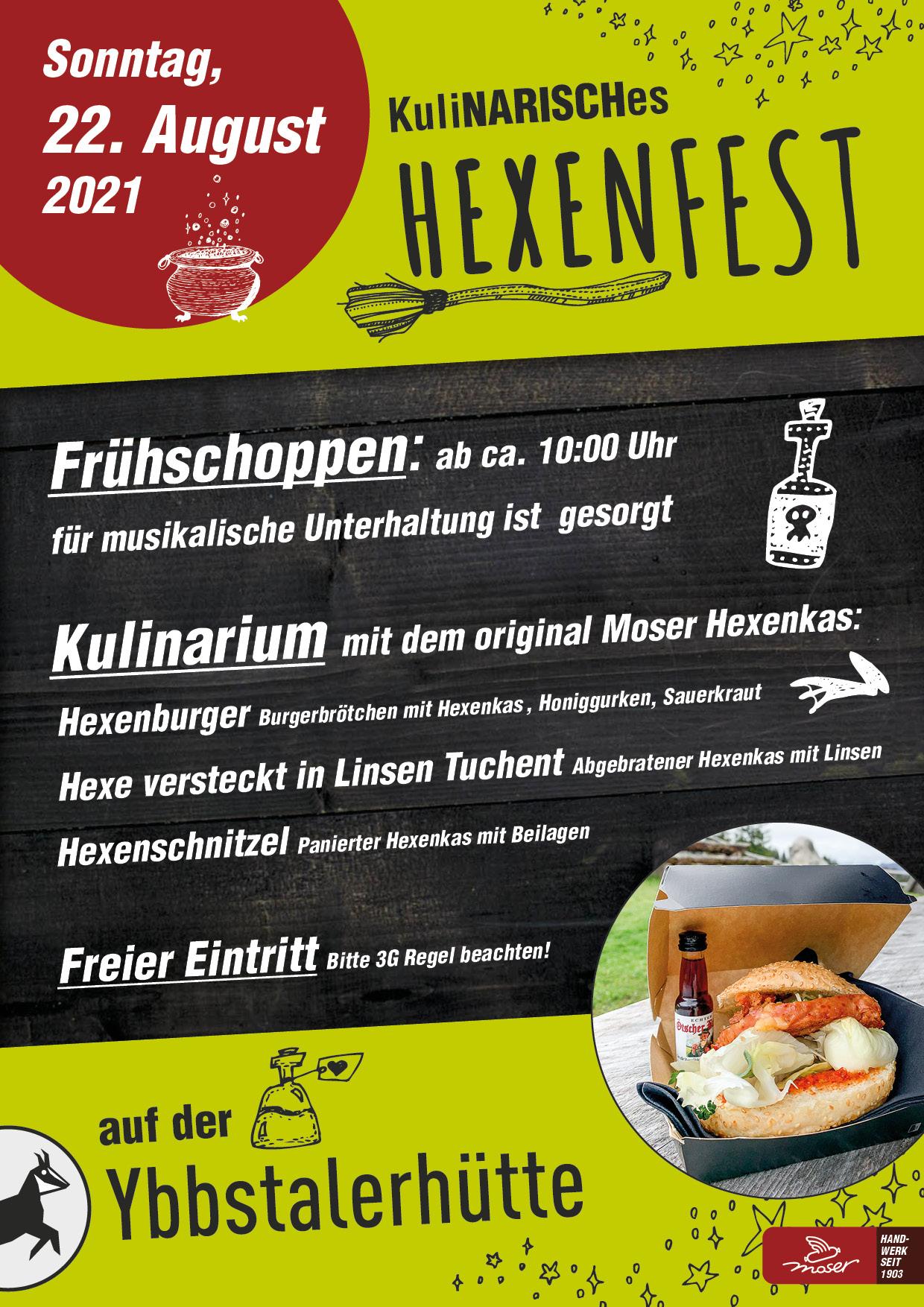 Kulinarisches Hexenfest am 22.8.2021 auf der Ybbstalerhütte
